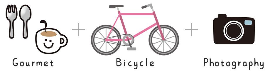 イラスト:自転車でグルメや写真を楽しむイメージ