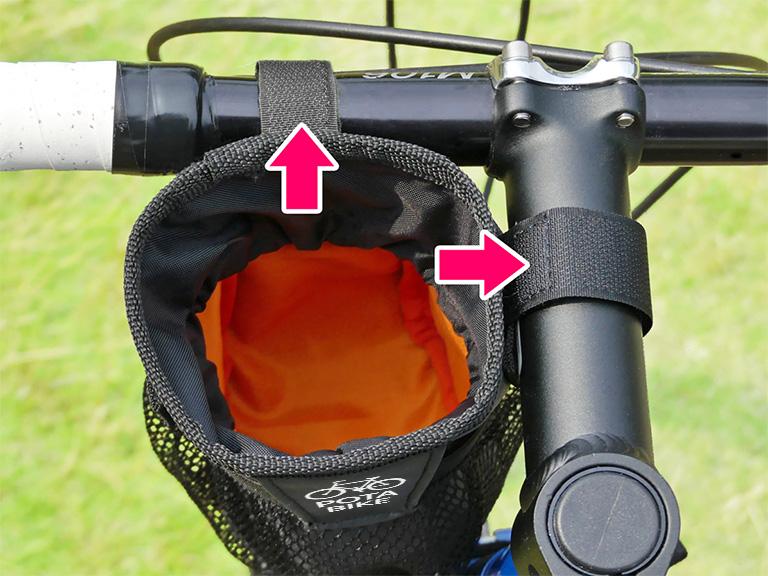 ハンドルとステムにベルトを固定する様子を示した写真