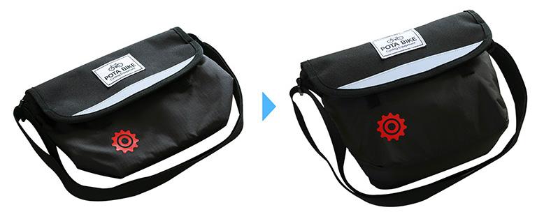 バッグが空の状態と、荷物を入れて膨らんだ状態を並べた写真