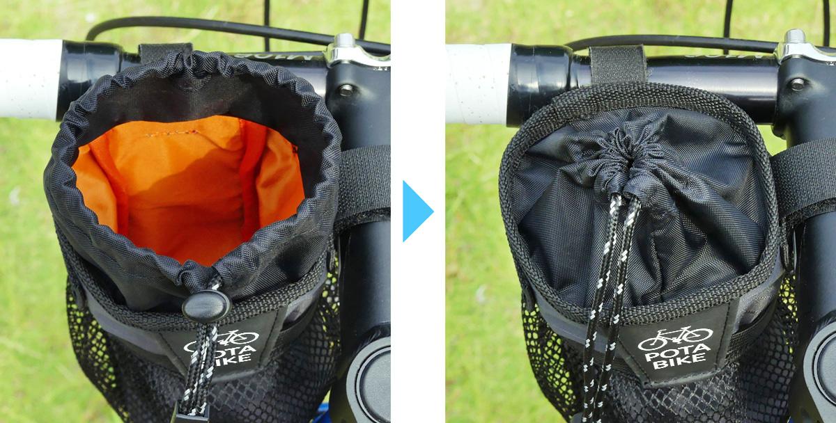 POTA BIKE ステムサイドポーチの開口部の巾着部分の写真