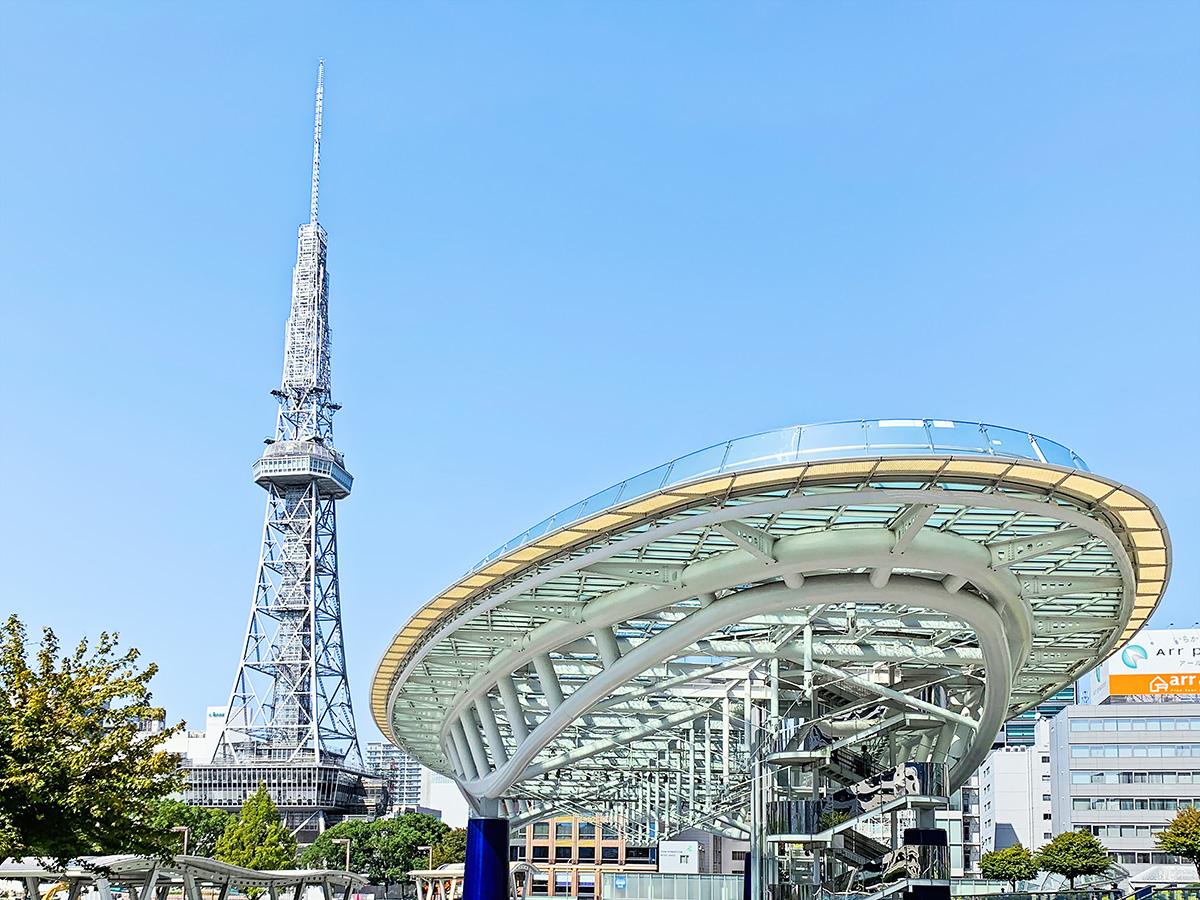 オアシス21の「水の宇宙船」と「名古屋テレビ等」が見える風景