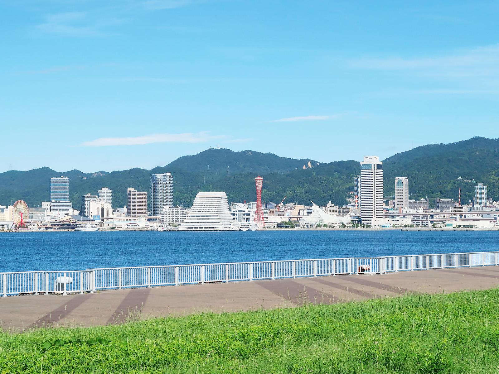 ポーアイしおさい公園から眺める神戸港の風景