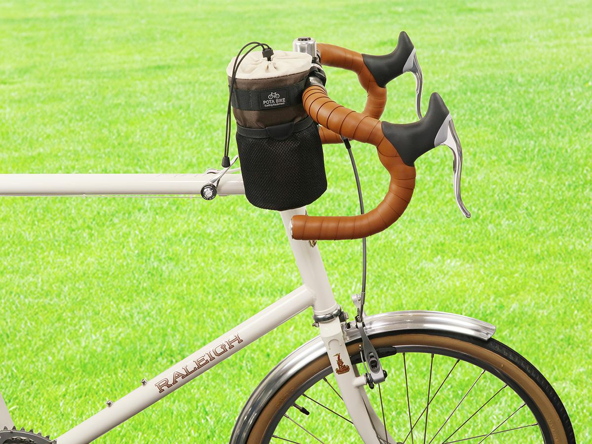 POTA BIKE ハンドルステムポーチ2をミニベロロードに装着した写真