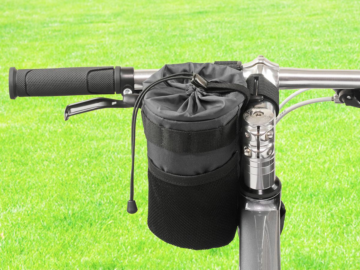 POTA BIKE ハンドルステムポーチ2を自転車に装着した写真