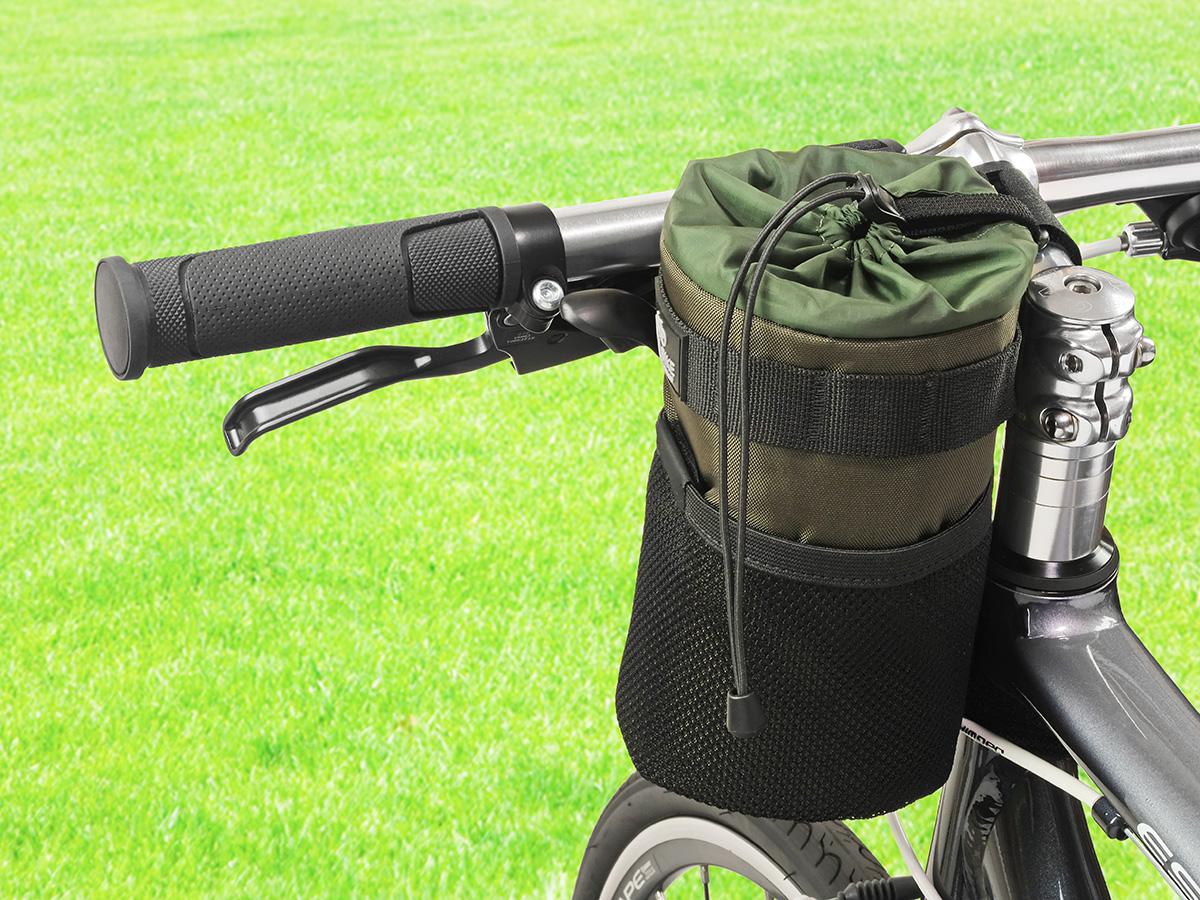 POTA BIKE ハンドルステムポーチ2をクロスバイクに装着した写真