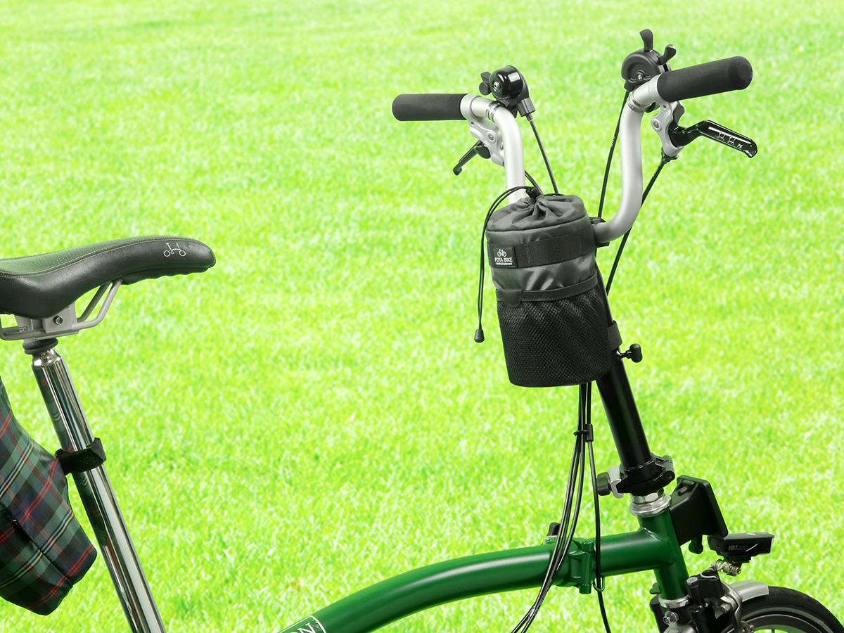POTA BIKE ハンドルステムポーチ2を折りたたみ自転車BROMPTONに装着した写真