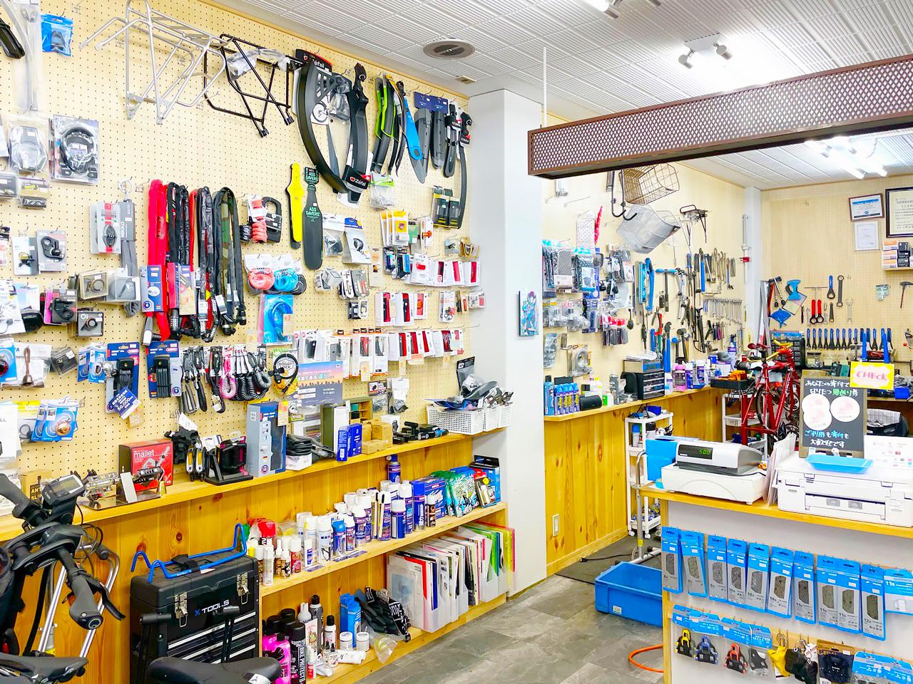 POTA BIKE製品の正規取扱店『侍サイクル』の店内の様子